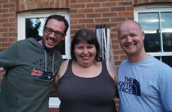 Me with my best friends Charlie (left) and Karl (right)